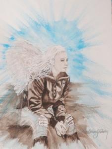 """""""Ängelvila""""Modell Christina von Sydow Akvarell 30x40cm  SOLD"""